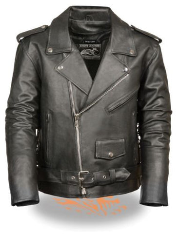 MEN'S MOTORCYCLE MOTORBIKE SIDE LACES POLICE TERMINATOR LEATHER JACKET BLACK NEW