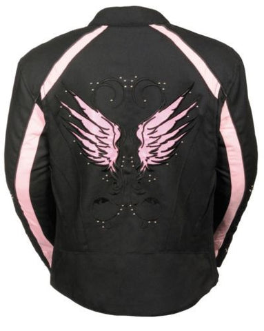 WOMEN'S MOTORBIKE MOTORCYCLE RIDING BLACK /PINK TEXTILE JACKET W STUD & WING