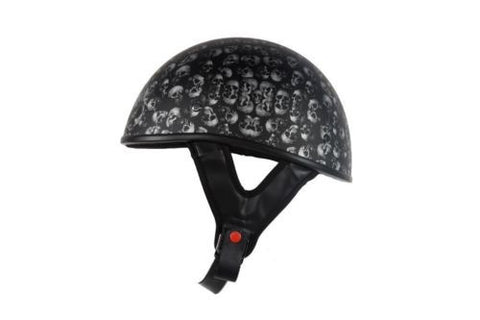 MOTORCYCLE MOTORBIKE DOT APPROVED HELMET FLAT W/ SKULL GRAPHICS BLACK NEW