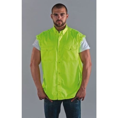MEN'S MOTORCYCLE FLUORESCENT COTTON SLEEVELESS CUT OFF SHIRT WITH FRAYED SLEEVES
