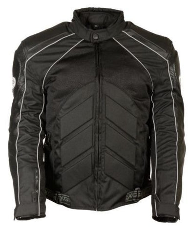 MEN'S MOTORCYCLE MOTORBIKE FULLY ARMOUR COMBO TEXTILE/ LEATHER JACKET BLACK NEW