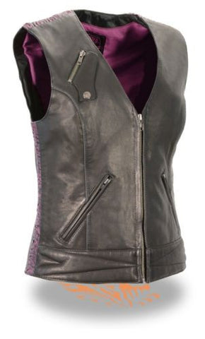 LADIES MOTORCYCLE BLACK SOFT LEATHER VEST W/ PURPLE CRINKLE DETAILING SNAP FRONT