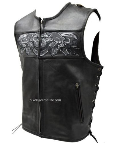 MEN'S MOTORCYCLE MOTORBIKE REAL LEATHER VEST W/ REFLECTIVE SKULLS BLACK NEW
