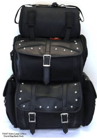 MOTORCYCLE LARGE STUDDED SISSY BAR TRAVEL BAR BAG BACK PACK TRAVEL LUGGAGE BLACK