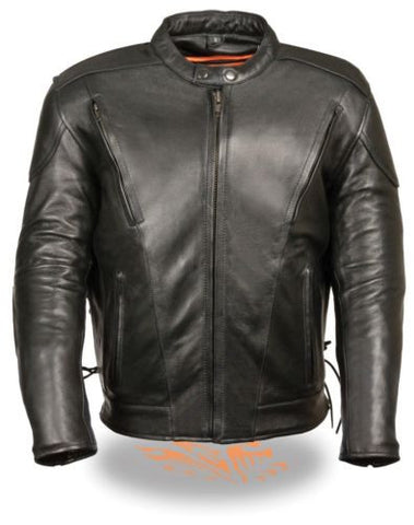 MEN'S MOTORCYCLE MOTORBIKE LEATHER RIDING JACKET VENTED SIDE LACES BLACK NEW
