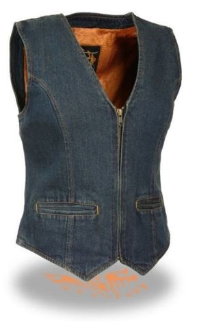 WOMEN'S MOTORCYCLE LADIES RIDER DENIM VEST 100% COTTON ZIPPER FRONT BLUE NEW