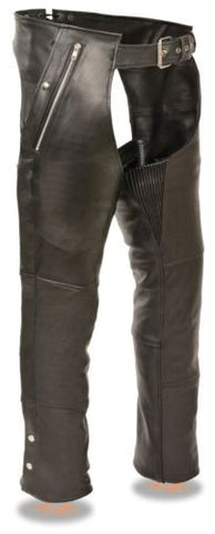MEN'S MOTORCYCLE MOTORBIKE BLACK LEATHER RIDING CHAP PANTS SOFT NEW BLACK