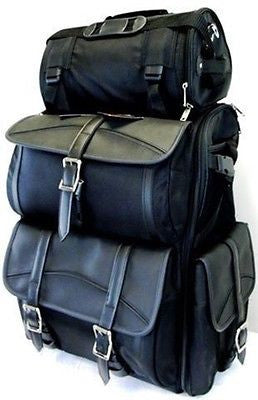 MOTORCYCLE LARGE PLAIN SISSY BAR TRAVEL BAR BAG BACK PACK TRAVEL LUGGAGE BLACK
