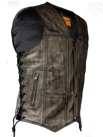 MEN'S MOTORCYCLE DISTRESSED BROWN 10 POCKETS LEATHER VEST SIDE LACES SOFT NEW
