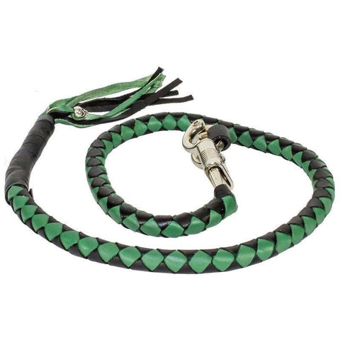 "BIKER BLACK GREEN 40"" LEATHER GET BACK WHIP MOTORCYCLE WHIP OLD SCHOOL"