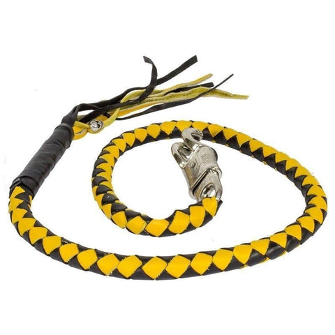 "BIKER BLACK YELLOW 40"" LEATHER GET BACK WHIP MOTORCYCLE WHIP OLD SCHOOL"