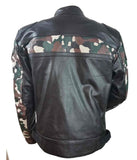 HIGH MILEAGE MEN'S LEATHER SCOOTER JACKET WITH CAMOUFLAGE