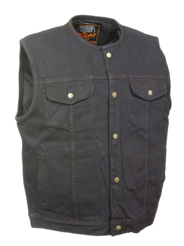 BLACK DENIM MOTORCYCLE VEST GUN POCKET INSIDE W/ SNAP CLOSURE