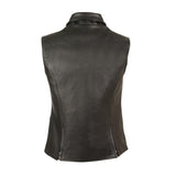 LADIES EXTRA LONG ZIPPER VEST W/ COLLAR