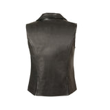 LADIES EXTRA LONG ZIPPER VEST W/ V COLLAR