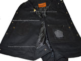 MEN'S JEAN STYLE W/SHIRT COLLAR BLACK DENIM MOTORCYCLE VEST