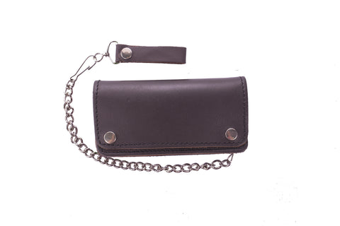 Brown Leather Bifold Motorcycle Chain Wallet