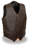 MEN'S BROWN SKULL & CROSS BONES EMBROIDERED VEST W/SIDE LACES