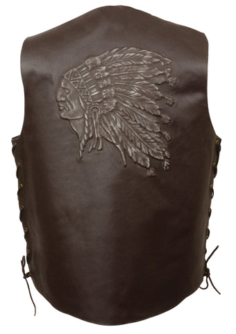 MEN'S BROWN INDIAN HEAD EMBROIDERED VEST W/SIDE LACES