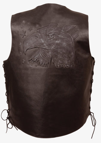 MEN'S BROWN LEATHER EAGLE HEAD & STARS EMBROIDERED VEST W/SIDE LACES