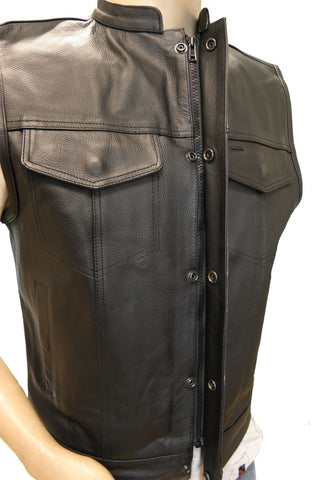 SON OF ANARCHY STYLE LEATHER VEST W/GUN POCKETS AND ZIPPER