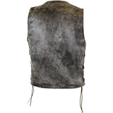 MEN'S DISTRESSED GREY GAMBLER LEATHER VEST (GRAY)