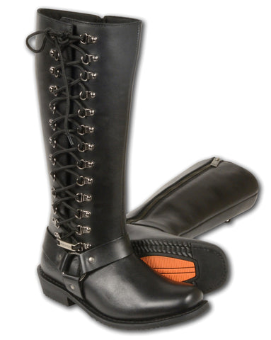 "LADIES MOTORCYCLE ""14"" INCH CLASSIC BOOT W/FULL LACING 100% LEATHER"