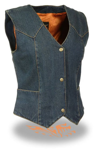 LADIES RIDER DENIM VEST 100% COTTON 3 SNAP FRONT