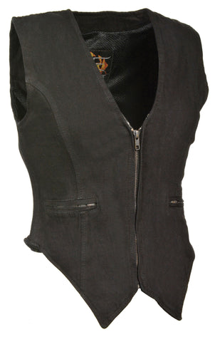 LADIES DENIM VEST 100% COTTON W/ SIDE STRETCH BLACK