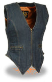 LADIES DENIM VEST 100% COTTON W/ SIDE STRETCH BLUE