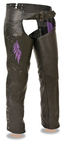 WOMEN'S MOTORCYCLE LEATHER CHAP PURPLE EMBROIDERY REFLECTIVE