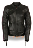 LADIES BLACK/ PURPLE RACER JACKET W/ PHEONIX STUDDING & EMBROIDERY