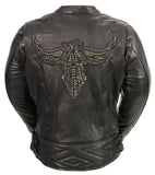 LADIES BLACK RACER JACKET W/ PHEONIX STUDDING & EMBROIDERY