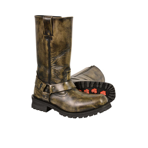 MEN'S MOTORCYCLE GENUINE LEATHER DISTRESSED BROWN 11 INCH BOOT