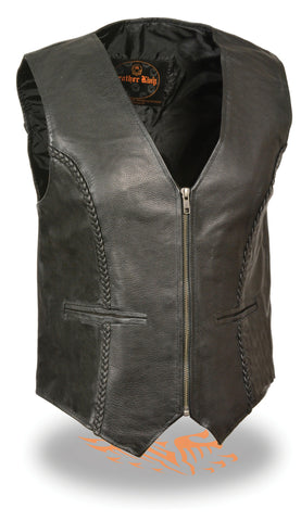 WOMEN'S LEATHER BRAIDED CLASSIC ZIPPER VEST SOFT LEATHER