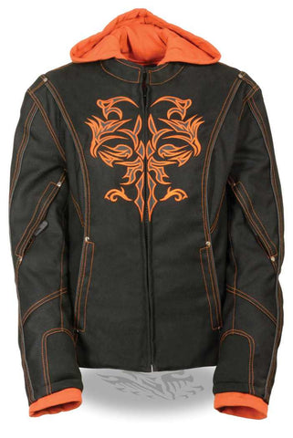 WOMEN'S MOTORCYCLE BLACK ORANGE TEXTILE JACKET W REFLECTIVE TRIBAL