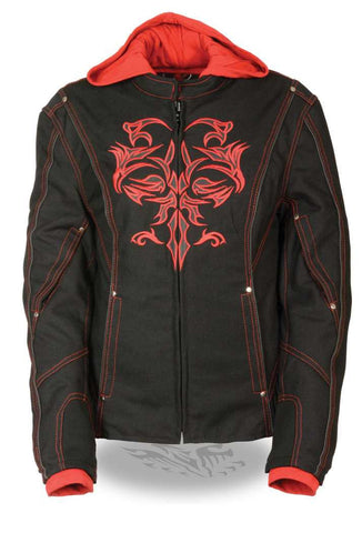 WOMEN'S MOTORCYCLE RIDING BLACK RED TEXTILE JACKET W REFLECTIVE TRIBAL