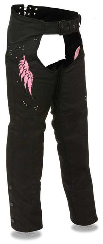 WOMEN'S MOTORCYCLE TEXTILE CHAP W/PINK EMBROIDERY REFLECTIVE
