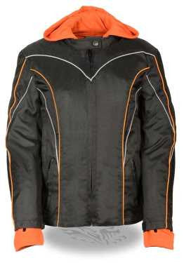 WOMEN'S MOTORCYCLE RIDING TEXTILE NYLON JACKET BLACK/ ORANGE