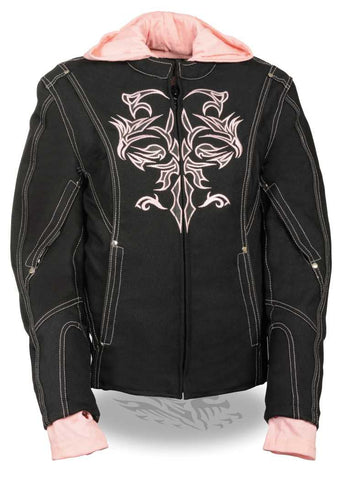 WOMEN'S MOTORCYCLE RIDING BLACK PINK TEXTILE JACKET W REFLECTIVE TRIBAL