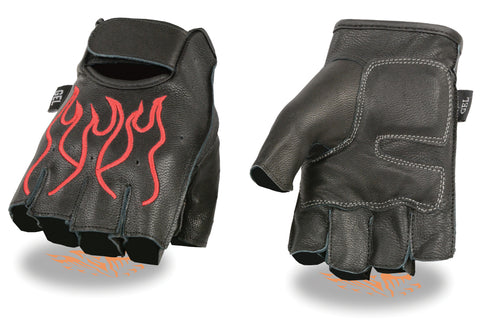 MEN'S MOTORCYCLE BIKE LEATHER FINGERLESS GLOVES BLACK RED FLAMES DURABLE NEW