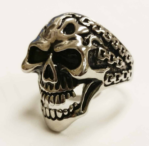STAINLESS STEEL MEN'S DEMON IN CHAINS RING