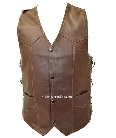 MEN'S BROWN LEATHER VEST 6 POCKETS SIDE LACES SOFT LEATHER