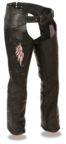 WOMEN'S MOTORCYCLE LEATHER CHAP W/PINK EMBROIDERY REFLECTIVE