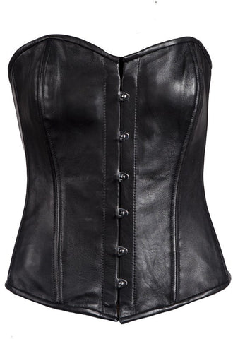 WOMEN'S REAL LAMB LEATHER REINFORCED STEEL BONED SEXY CORSET BACK LACES BLACK