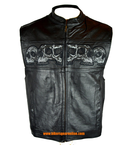 Leather Vest With Reflective Skulls