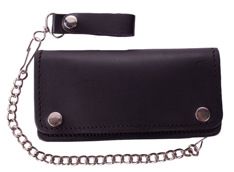 Black Leather Bifold Motorcycle Chain Wallet