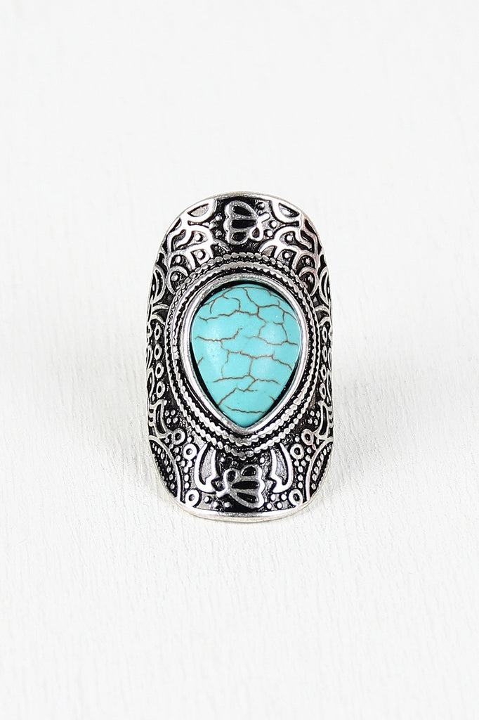 Turquoise Drop Armor Ring - Kaneli Nomad Boutique
