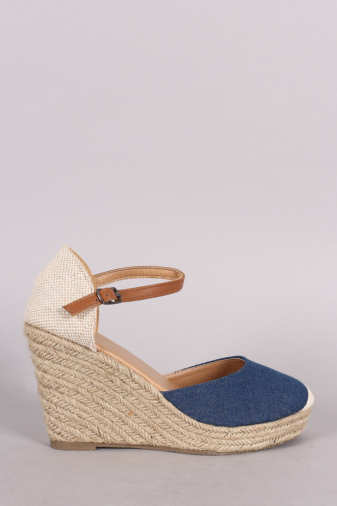 Denim Round Toe Ankle strap Espadrille Platform Wedge