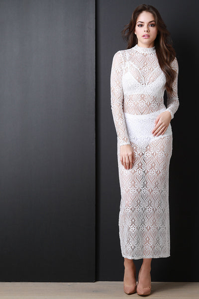 Baroque Lace Long Sleeve Maxi Dress - Kaneli Nomad Boutique